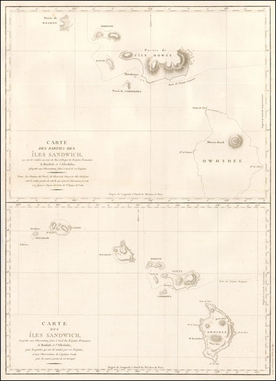 47-Hawaii and Hawaii Map By Jean Francois Galaup de La Perouse