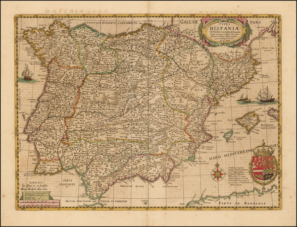 45-Spain and Portugal Map By Henricus Hondius