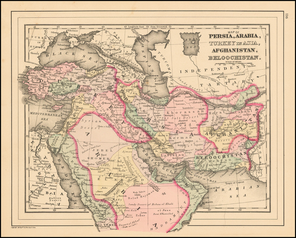 0-Korea, Central Asia & Caucasus, Persia and Turkey & Asia Minor Map By Samuel Augustus M