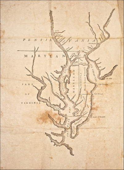 46-Mid-Atlantic, Pennsylvania, Maryland, Delaware and Virginia Map By Benjamin Franklin