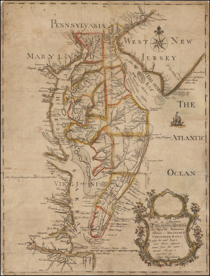 41-Mid-Atlantic, Maryland, Delaware, Southeast and American Revolution Map By John Churchman