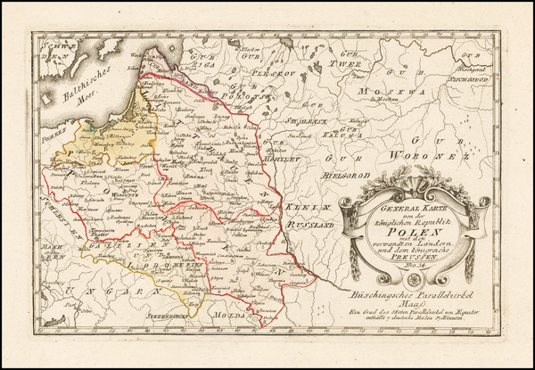 44-Poland Map By Franz Johann Joseph von Reilly