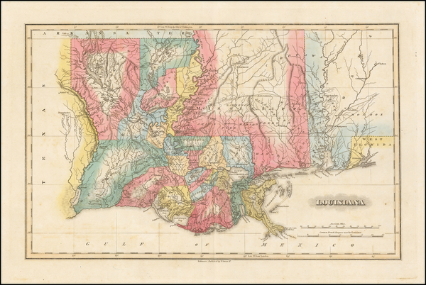100-South, Louisiana, Alabama and Mississippi Map By Fielding Lucas Jr.