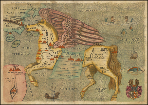 0-Asia, Asia, China, Southeast Asia, Curiosities and Comic & Anthropomorphic Map By Heinrich