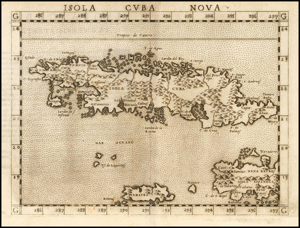 68-Caribbean and Cuba Map By Girolamo Ruscelli