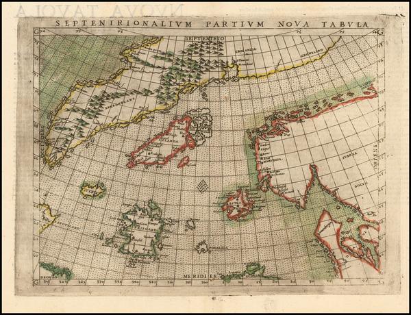 94-Polar Maps, Atlantic Ocean, Scandinavia and Balearic Islands Map By Girolamo Ruscelli