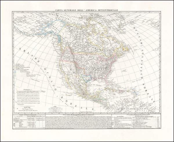 32-North America Map By Benedetto Marzolla
