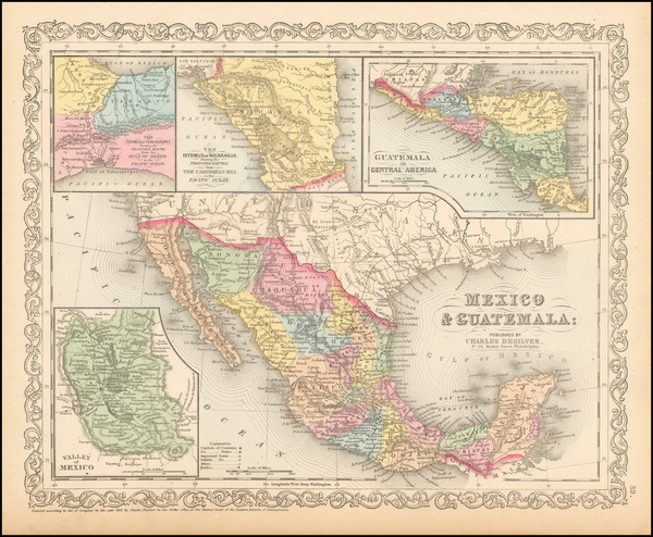 56-Texas, Southwest, Mexico and California Map By Charles Desilver