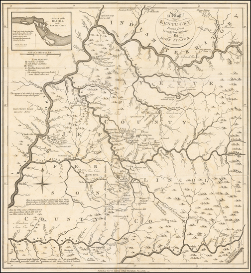 96-South, Kentucky and Midwest Map By John Filson