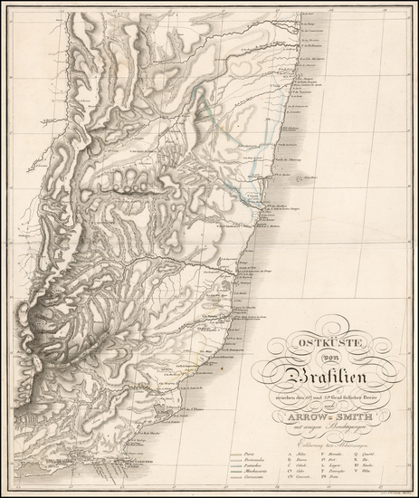 63-Brazil Map By Prinz Maximilian Alexander Philipp zu Wied-Neuwied