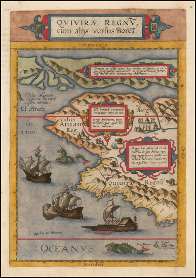 4-Polar Maps, Alaska, Canada and California Map By Cornelis de Jode