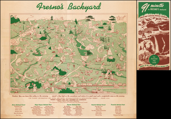 90-California and Yosemite Map By A D Clary
