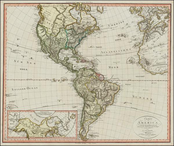 56-Alaska, South America and America Map By Iohann Matthias Christoph Reinecke
