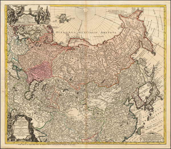 99-China, Central Asia & Caucasus and Russia in Asia Map By Homann Heirs / Johann Matthaus Haa