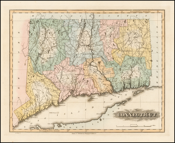 80-New England and Connecticut Map By Fielding Lucas Jr.