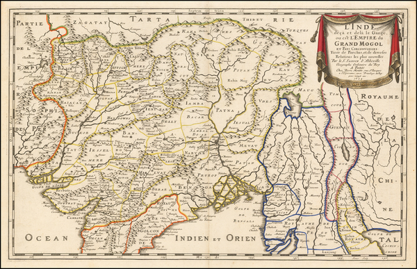 56-India Map By Nicolas Sanson