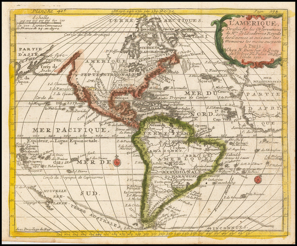 94-Western Hemisphere, South America, Oceania, New Zealand and America Map By Nicolas Bion