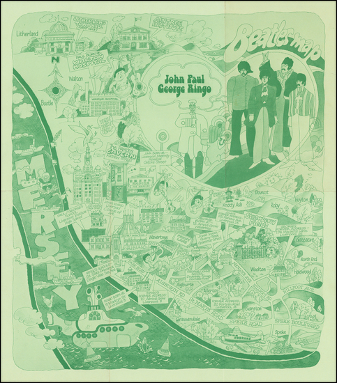 15-British Isles, England, Curiosities and Pictorial Maps Map By City of Liverpool Public Relation
