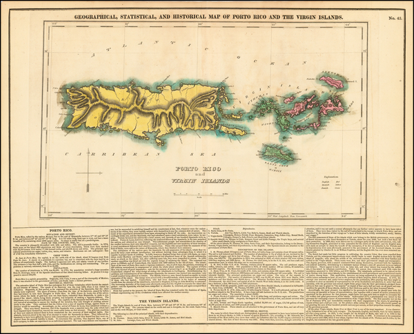 15-Caribbean, Puerto Rico and Virgin Islands Map By Henry Charles Carey  &  Isaac Lea