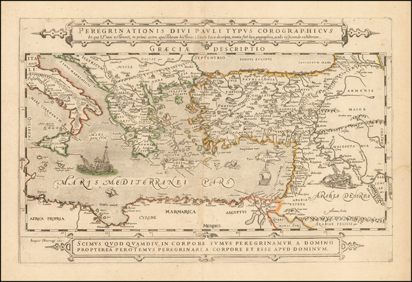 45-Greece, Mediterranean, Middle East, Holy Land and Turkey & Asia Minor Map By Jacob Honervog
