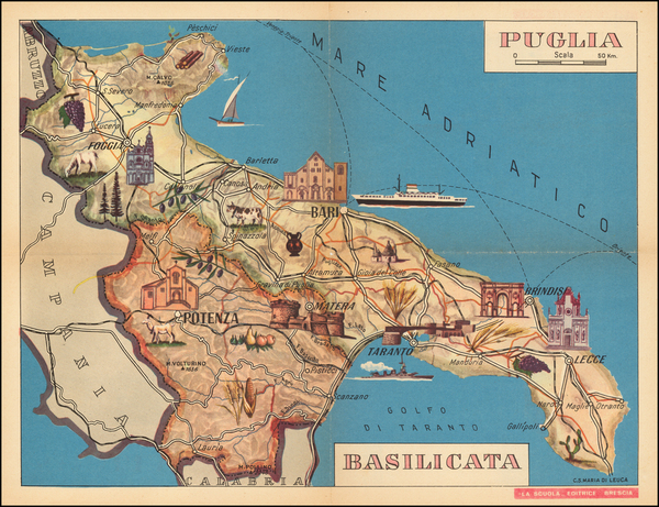 31-Southern Italy and Pictorial Maps Map By La Scuola Editrice