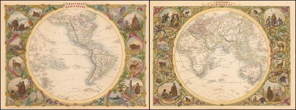 36-World, Eastern Hemisphere, Western Hemisphere, South America and America Map By John Tallis