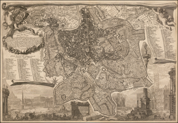 66-Italy and Rome Map By Giovanni Battista Piranesi / Ignacio Benedetti