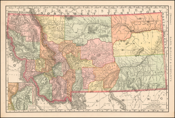 89-Plains, Rocky Mountains and Montana Map By William Rand  &  Andrew McNally