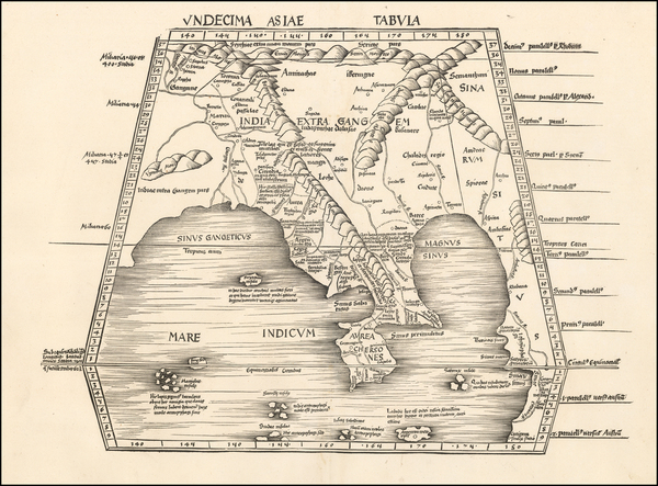 India and Southeast Asia Map By Martin Waldseemüller