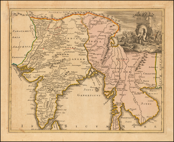 66-India and Southeast Asia Map By Johann Christoph Weigel