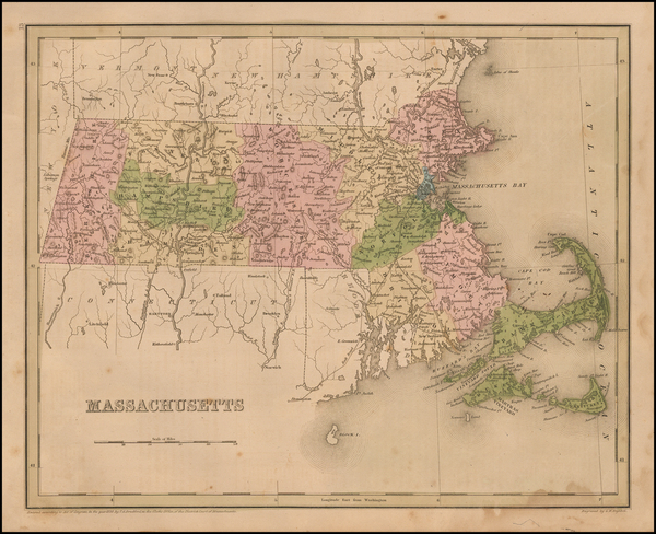 90-New England and Massachusetts Map By Thomas Gamaliel Bradford