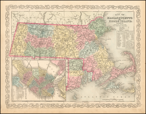 67-United States, Massachusetts and Rhode Island Map By Charles Desilver