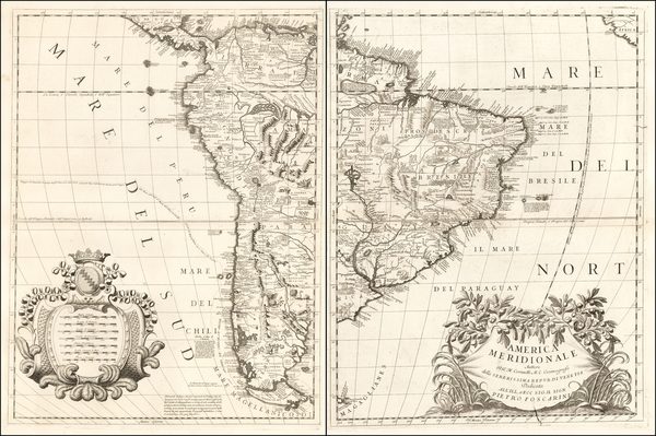 77-South America Map By Vincenzo Maria Coronelli