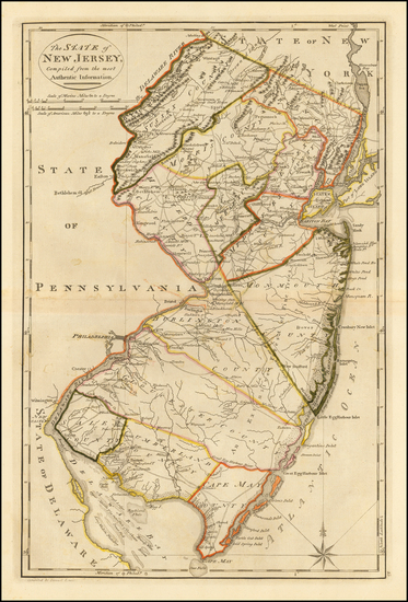 Mid-Atlantic and New Jersey Map By Mathew Carey