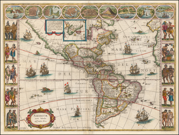 43-North America, South America and America Map By Willem Janszoon Blaeu