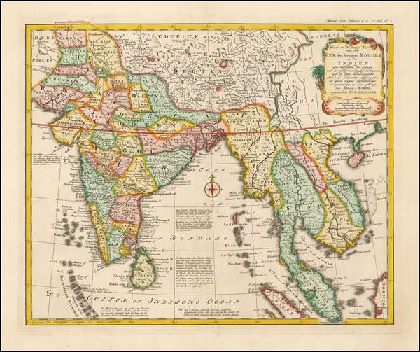 India and Southeast Asia Map By Willem Albert Bachienne