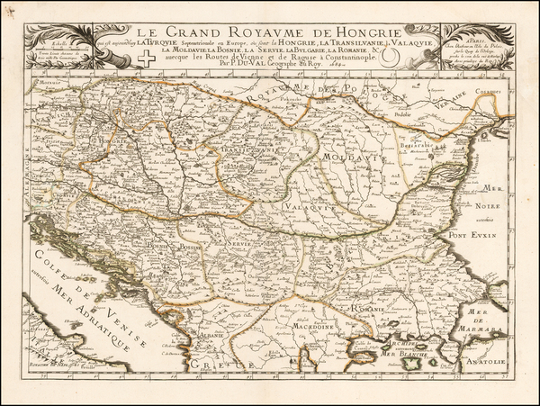 Austria, Hungary, Romania, Balkans and Turkey Map By Pierre Du Val