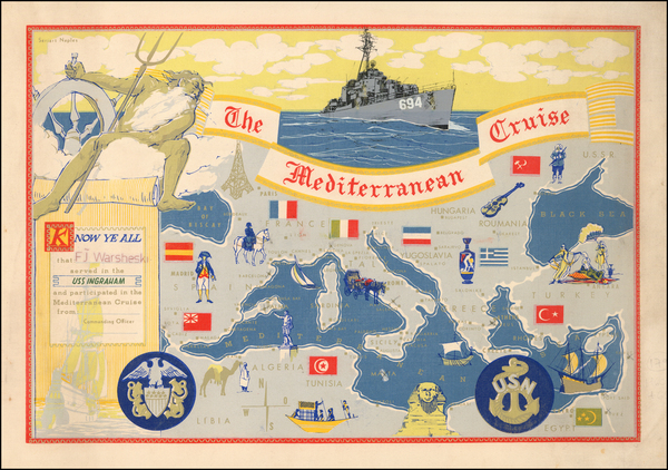 86-Mediterranean, Pictorial Maps and Curiosities Map By Seriart Naples