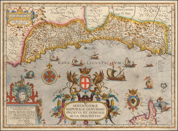 46-France and Italy Map By Abraham Ortelius / Johannes Baptista Vrients