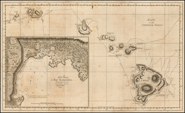 82-Hawaii and Hawaii Map By James Cook