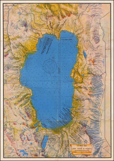 Nevada and California Map By E. R. Smith