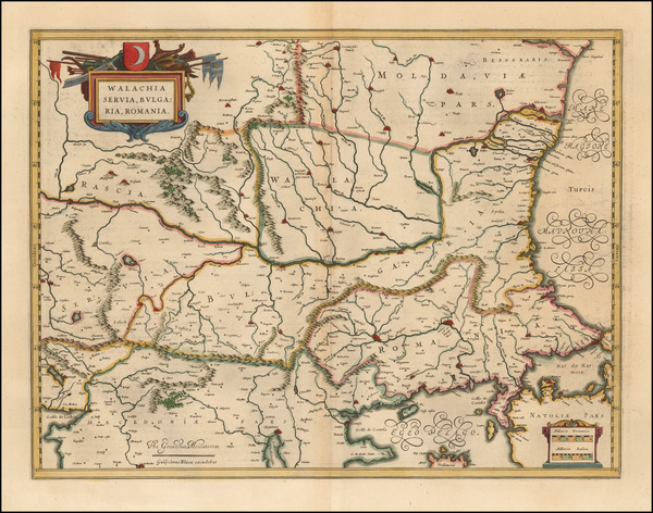 48-Romania, Serbia and Bulgaria Map By Willem Janszoon Blaeu