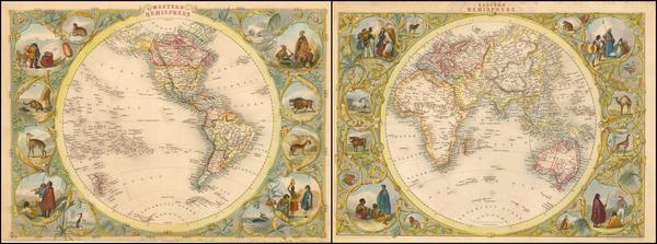 18-World, Eastern Hemisphere, Western Hemisphere, South America and America Map By John Tallis