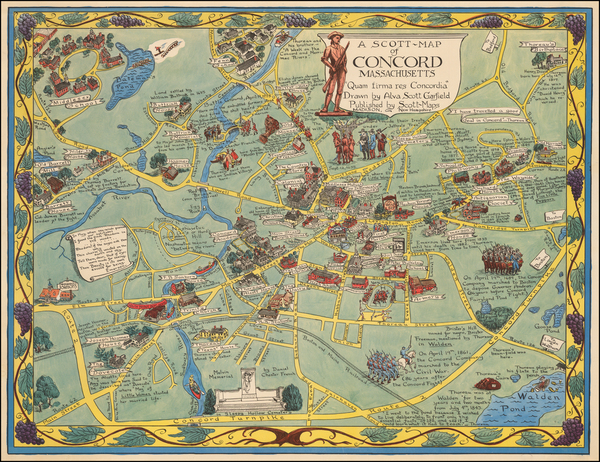 81-New England, Massachusetts, Pictorial Maps, Boston and American Revolution Map By Alva Scott Ga
