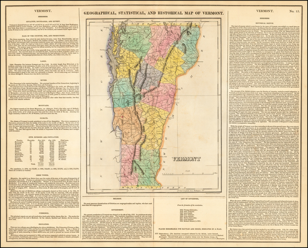 51-New England and Vermont Map By Henry Charles Carey  &  Isaac Lea