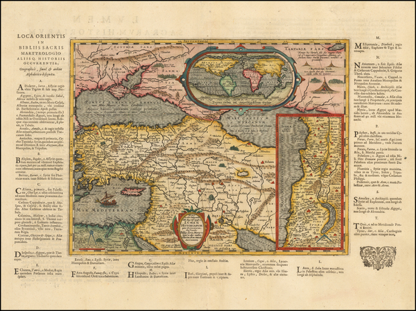 100-World, Mediterranean, Holy Land and Turkey & Asia Minor Map By Abraham Ortelius