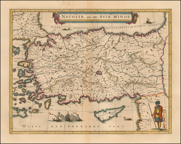 80-Turkey, Mediterranean and Turkey & Asia Minor Map By Willem Janszoon Blaeu