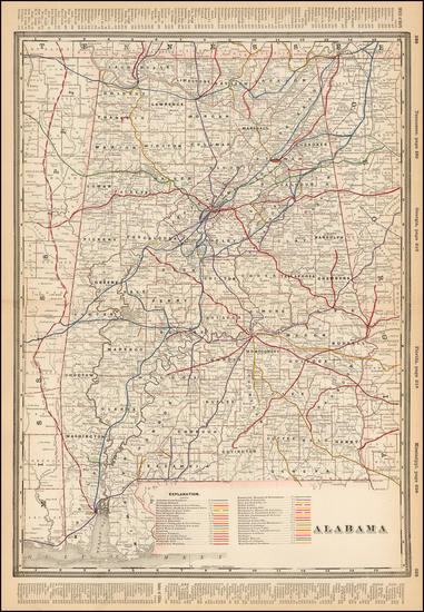 85-Alabama Map By George F. Cram