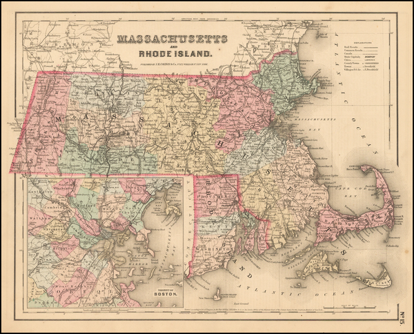 20-New England, Massachusetts and Rhode Island Map By Joseph Hutchins Colton