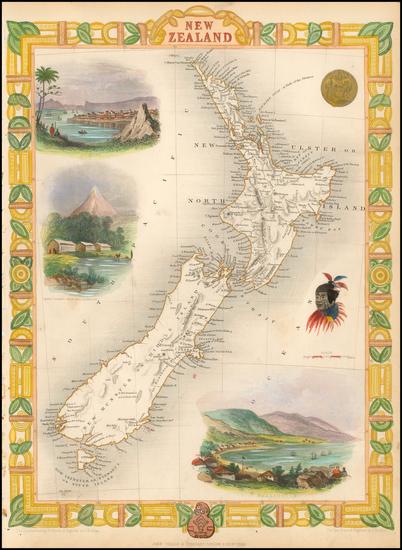 13-New Zealand Map By John Tallis